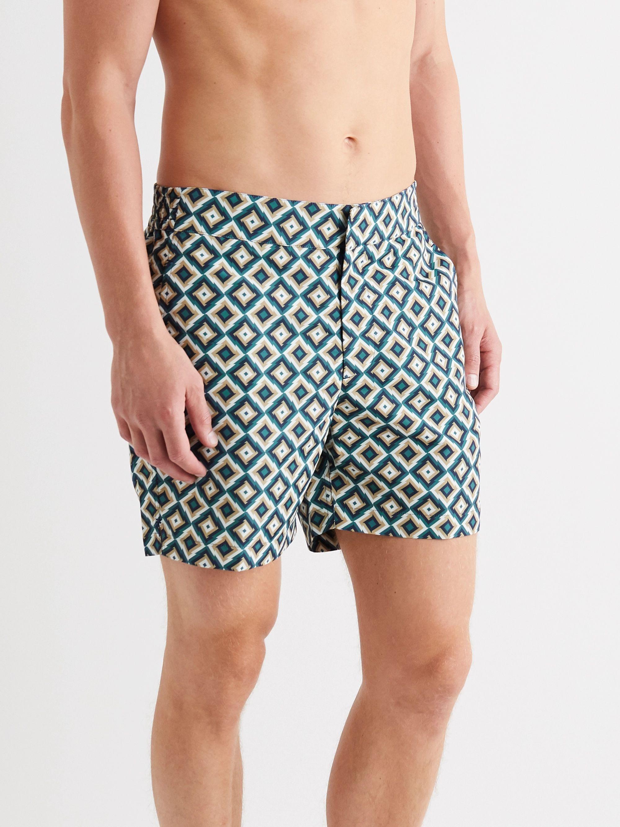 Blue Pangra Short-length Printed Swim Shorts | Frescobol Carioca