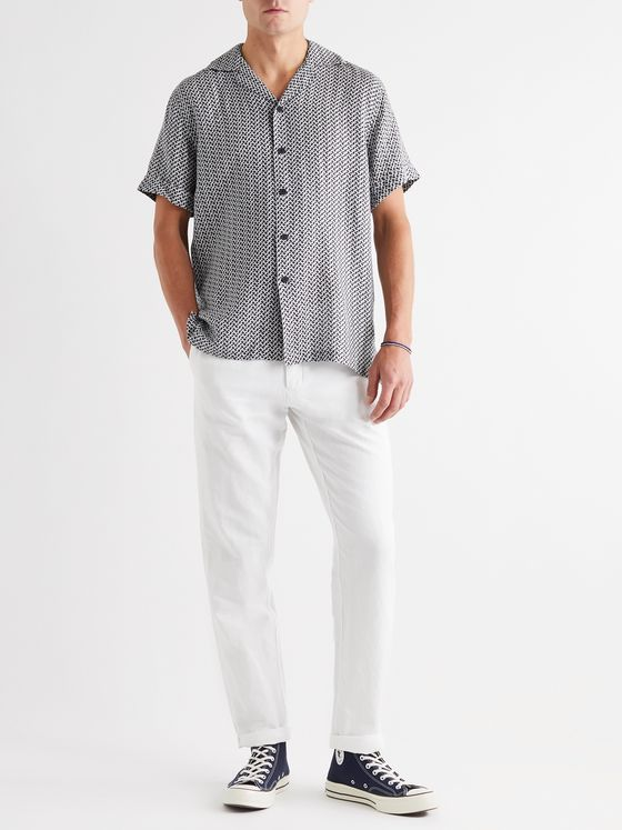 Frescobol Carioca Beam Camp-Collar Printed Linen Shirt