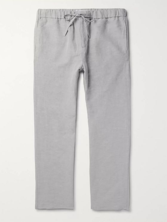 FRESCOBOL CARIOCA Slub Tencel and Linen-Blend Drawstring Trousers