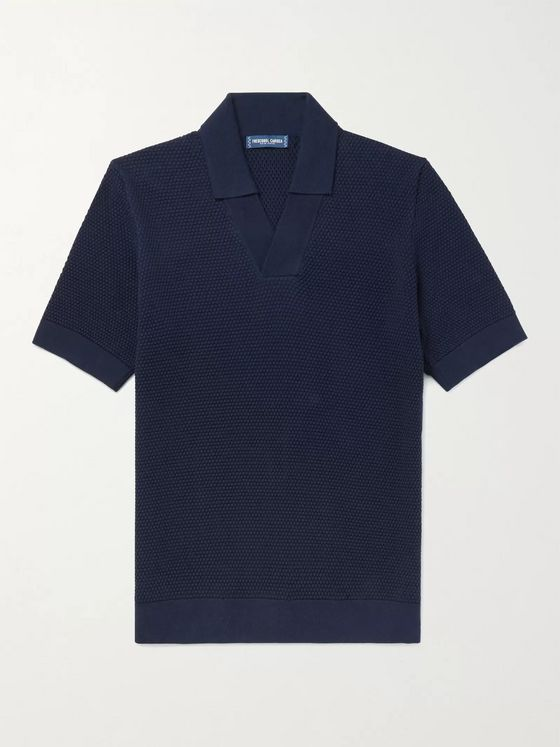 FRESCOBOL CARIOCA Textured Cotton and Merino Wool-Blend Polo Shirt