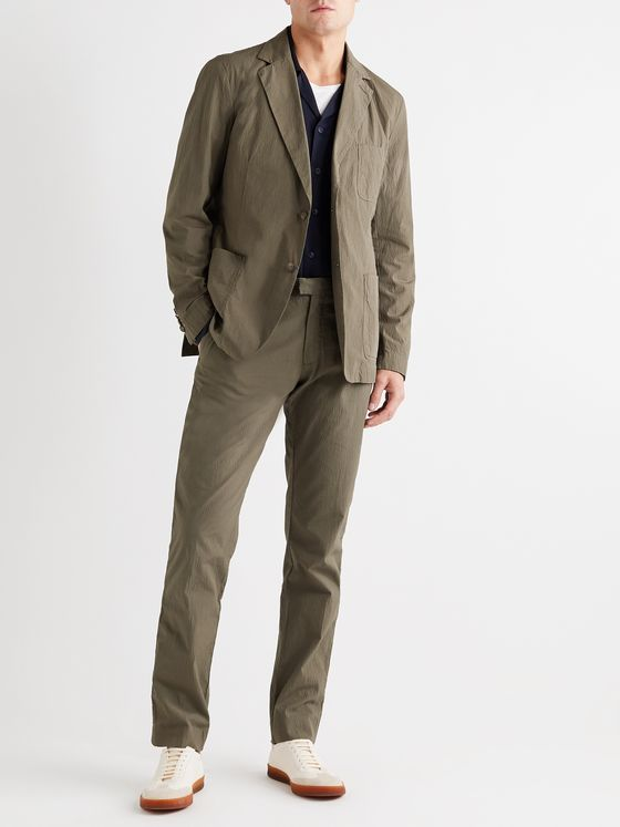 FRESCOBOL CARIOCA + Johannes Huebl Slim-Fit Cotton-Blend Seersucker Suit Trousers