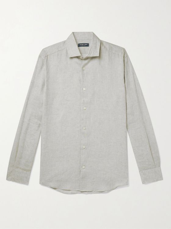 FRESCOBOL CARIOCA Cutaway Collar TENCEL and Linen-Blend Shirt