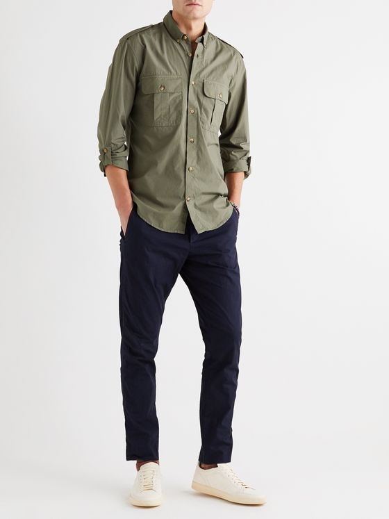 FRESCOBOL CARIOCA + Johannes Huebl Button-Down Collar Cotton-Poplin Shirt
