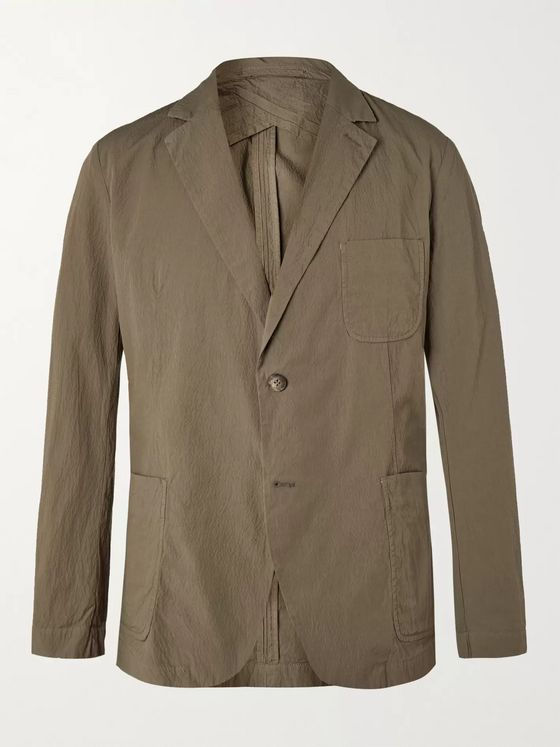 FRESCOBOL CARIOCA + Johannes Huebl Unstructured Cotton-Blend Seersucker Suit Jacket