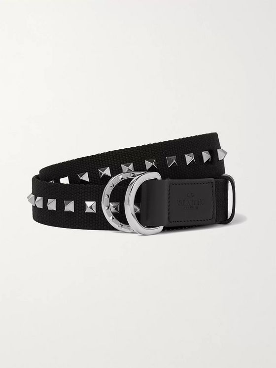 Valentino Valentino Garavani 3cm Rockstud Leather-Trimmed Canvas Belt