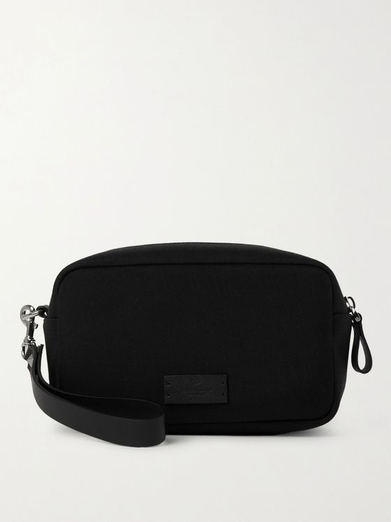 VALENTINO Valentino Garavani Leather-Trimmed Canvas Wash Bag