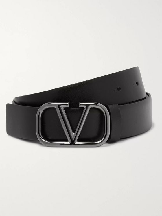 Valentino 3cm Logo-Embellished Leather Belt