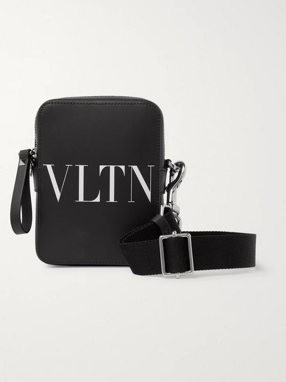 Valentino Valentino Garavani Logo-Print Leather Messenger Bag