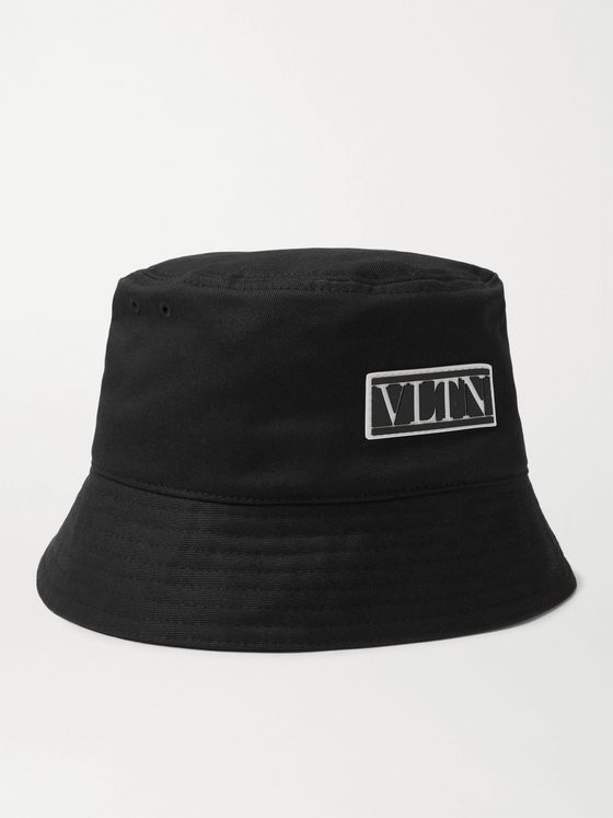 VALENTINO Valentino Garavani Logo-Appliquéd Cotton-Canvas Bucket Hat