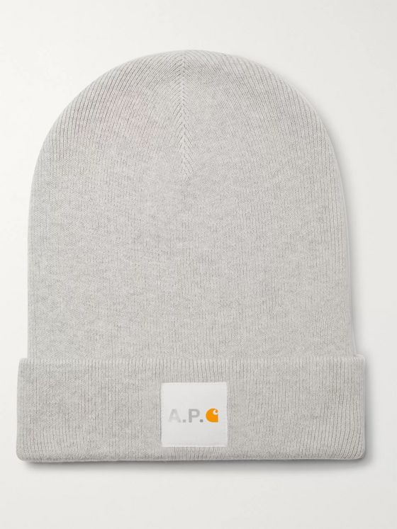 A.P.C. + Carhartt WIP Logo-Appliquéd Cotton and Cashmere-Blend Beanie