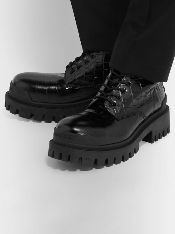 Balenciaga Strike Croc-Effect Leather Boots