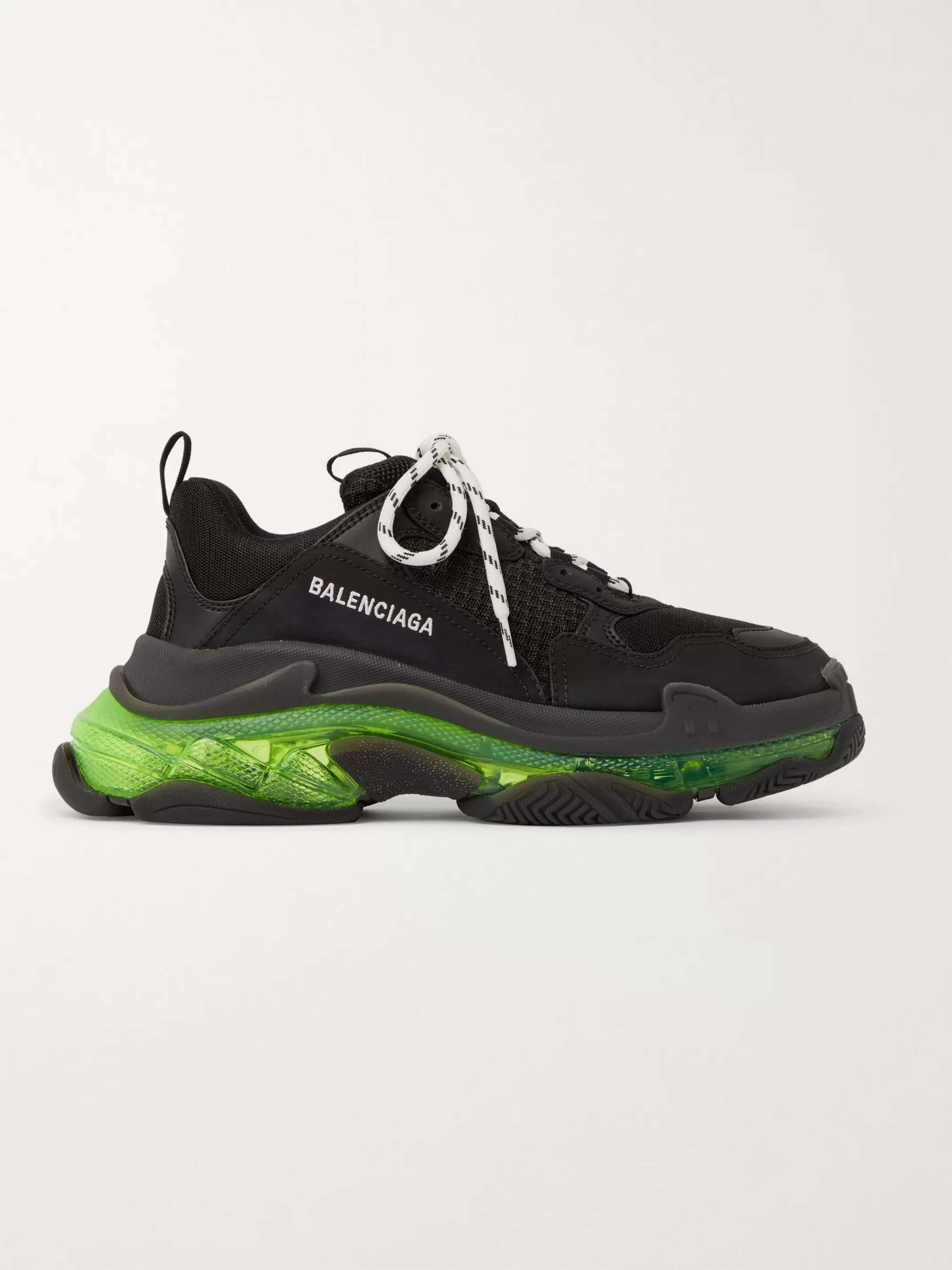 발렌시아가 트리플S 남성용, 클리어솔 - 블랙 Balenciaga Triple S Clear Sole Mesh Sneakers,Black