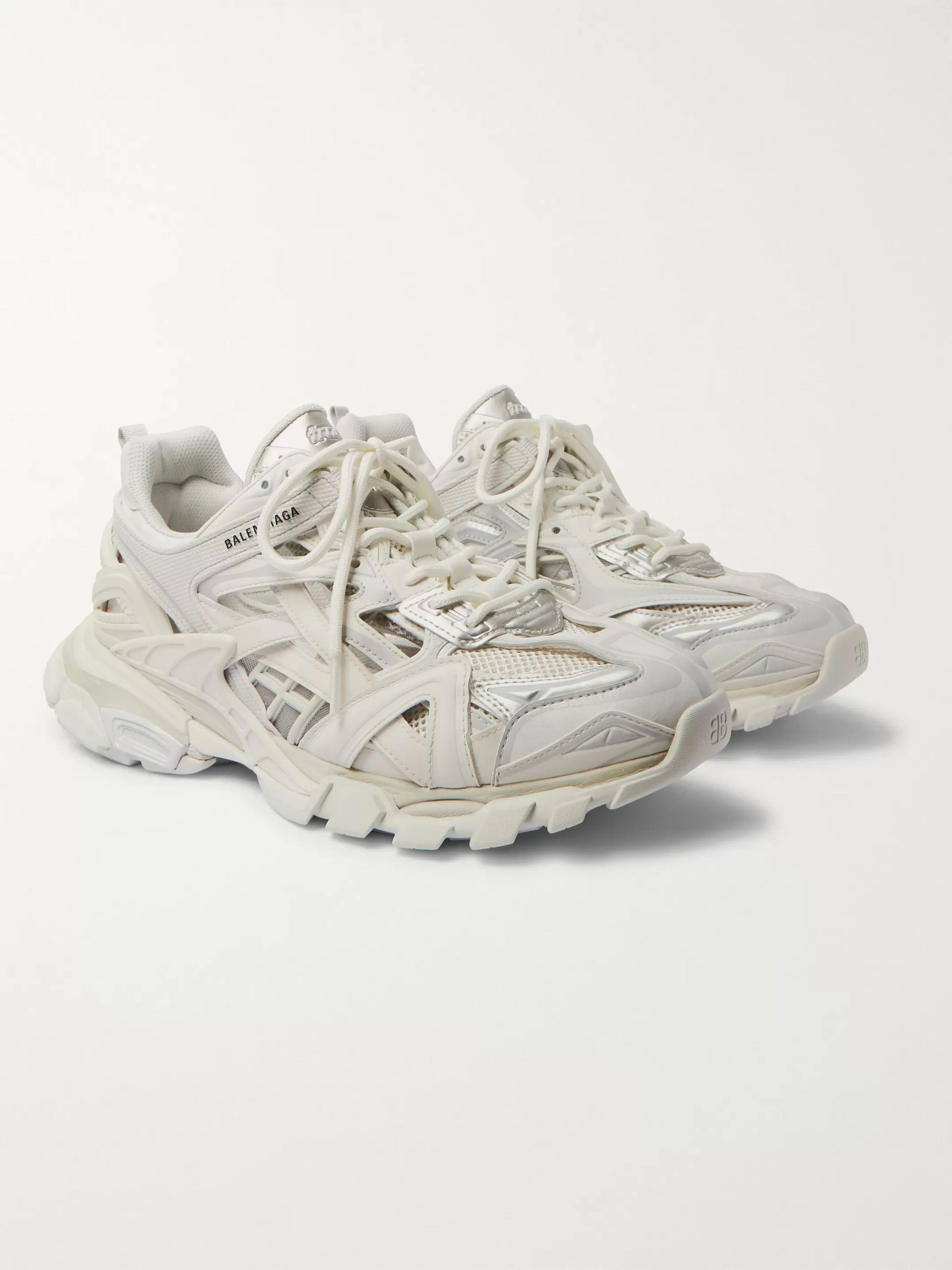 White Track 2 Nylon Mesh And Rubber Sneakers Balenciaga Mr Porter