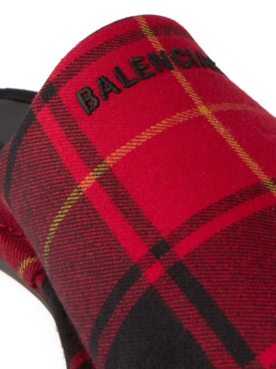 Balenciaga Cosy BB Logo-Embroidered Backless Tartan Flannel Loafers