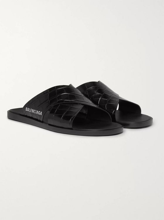Balenciaga Logo-Print Croc-Effect Leather Slides