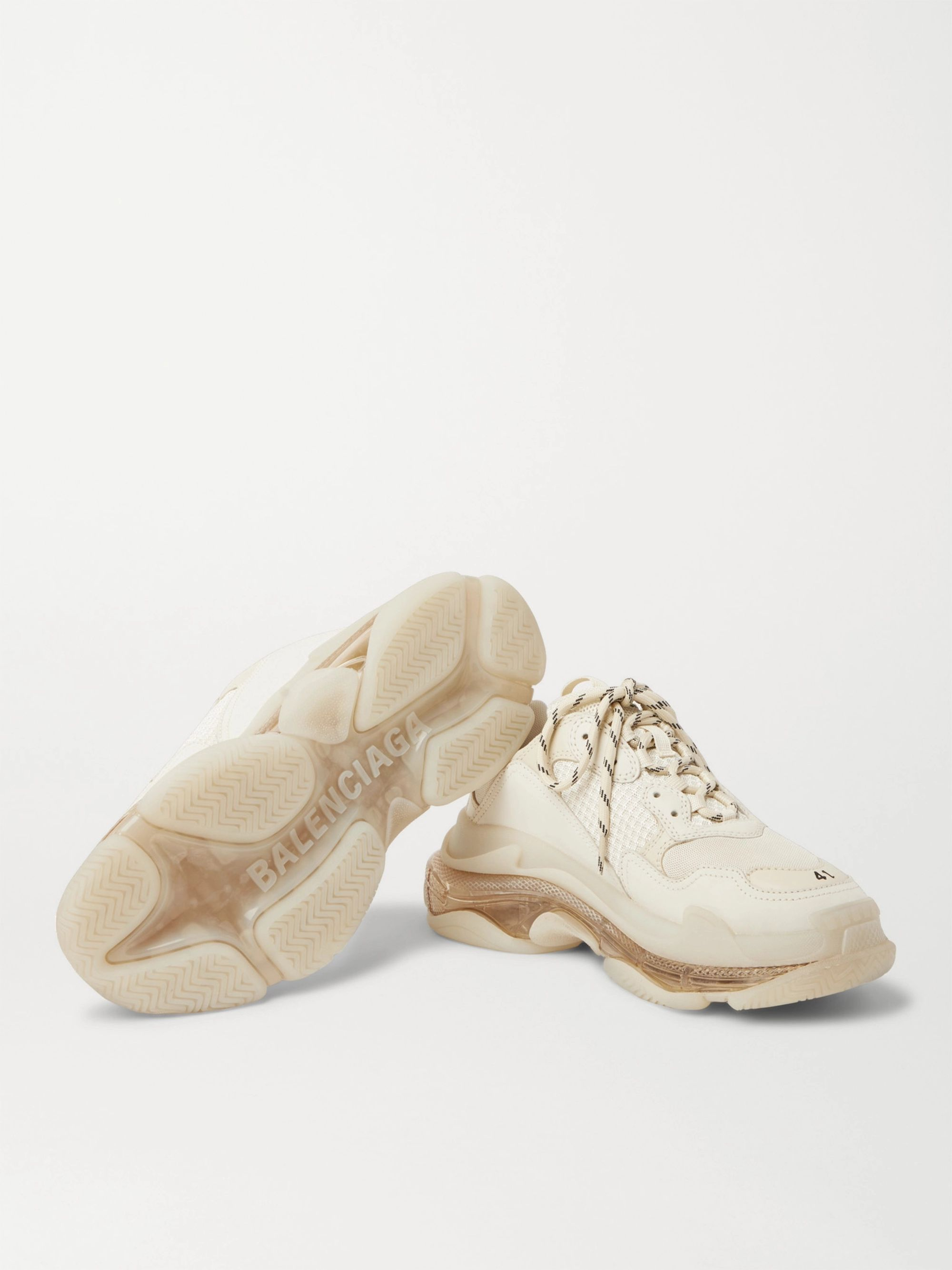 Balenciaga Triple S Clear Sole Mesh, Nubuck and Leather Sneakers