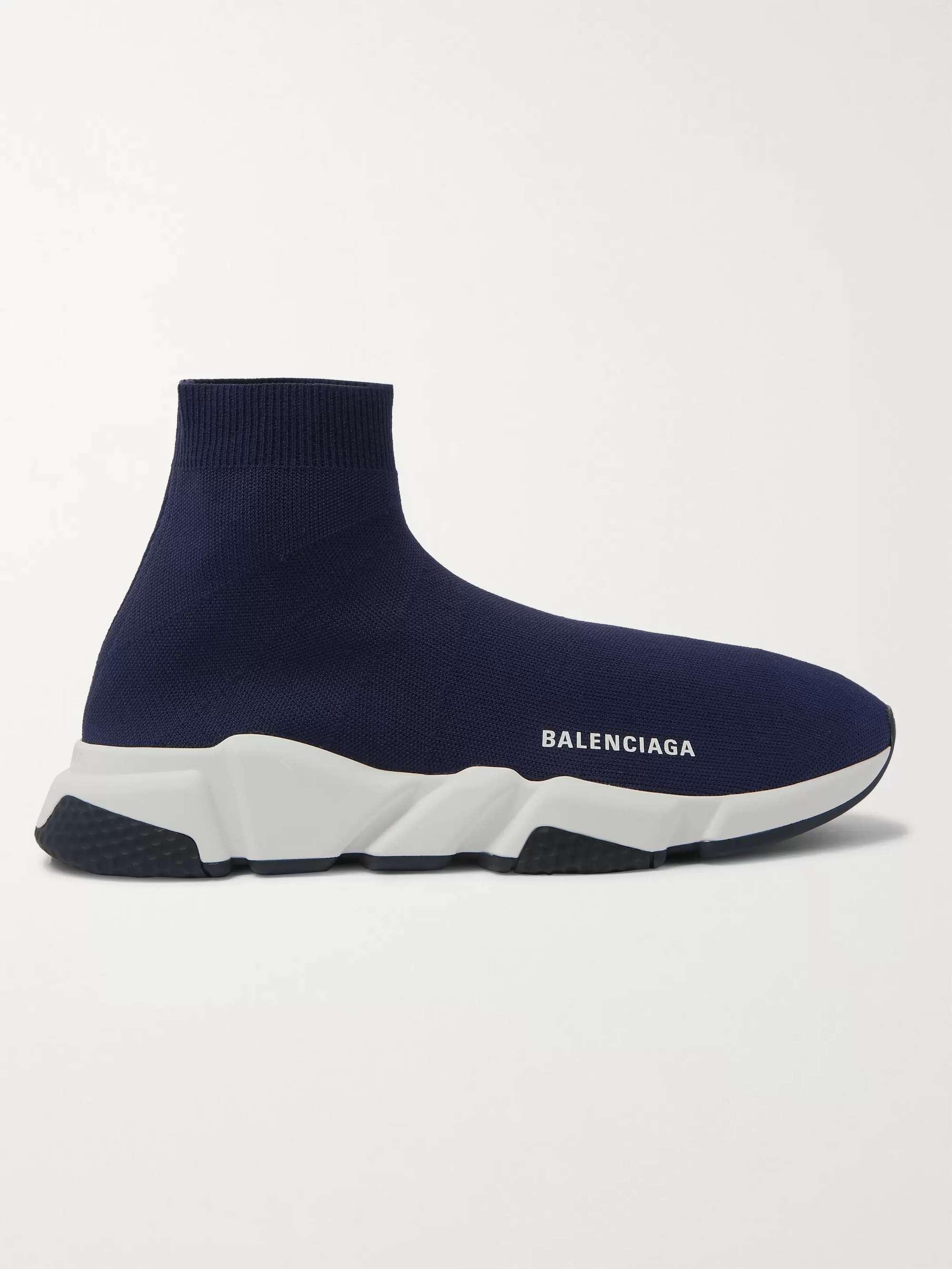 발렌시아가 스피드러너 남성용 - 네이비 Balenciaga Speed Sock Stretch-Knit Slip-On Sneakers,Navy