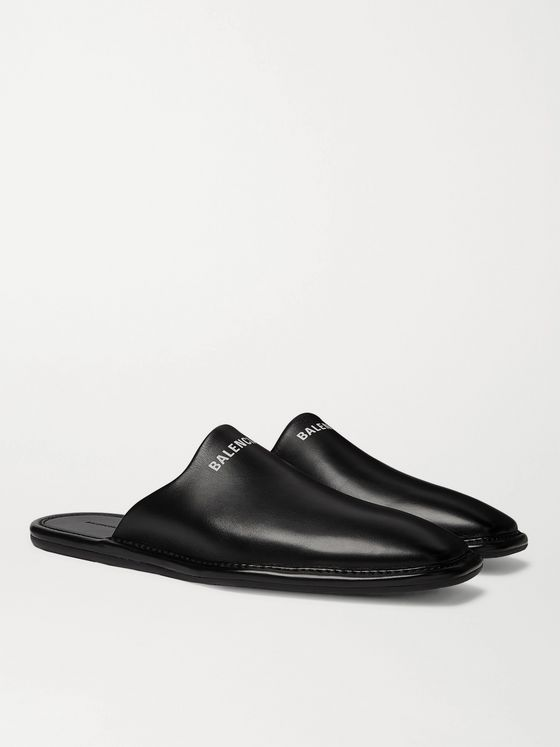 Balenciaga Logo-Print Leather Backless Loafers