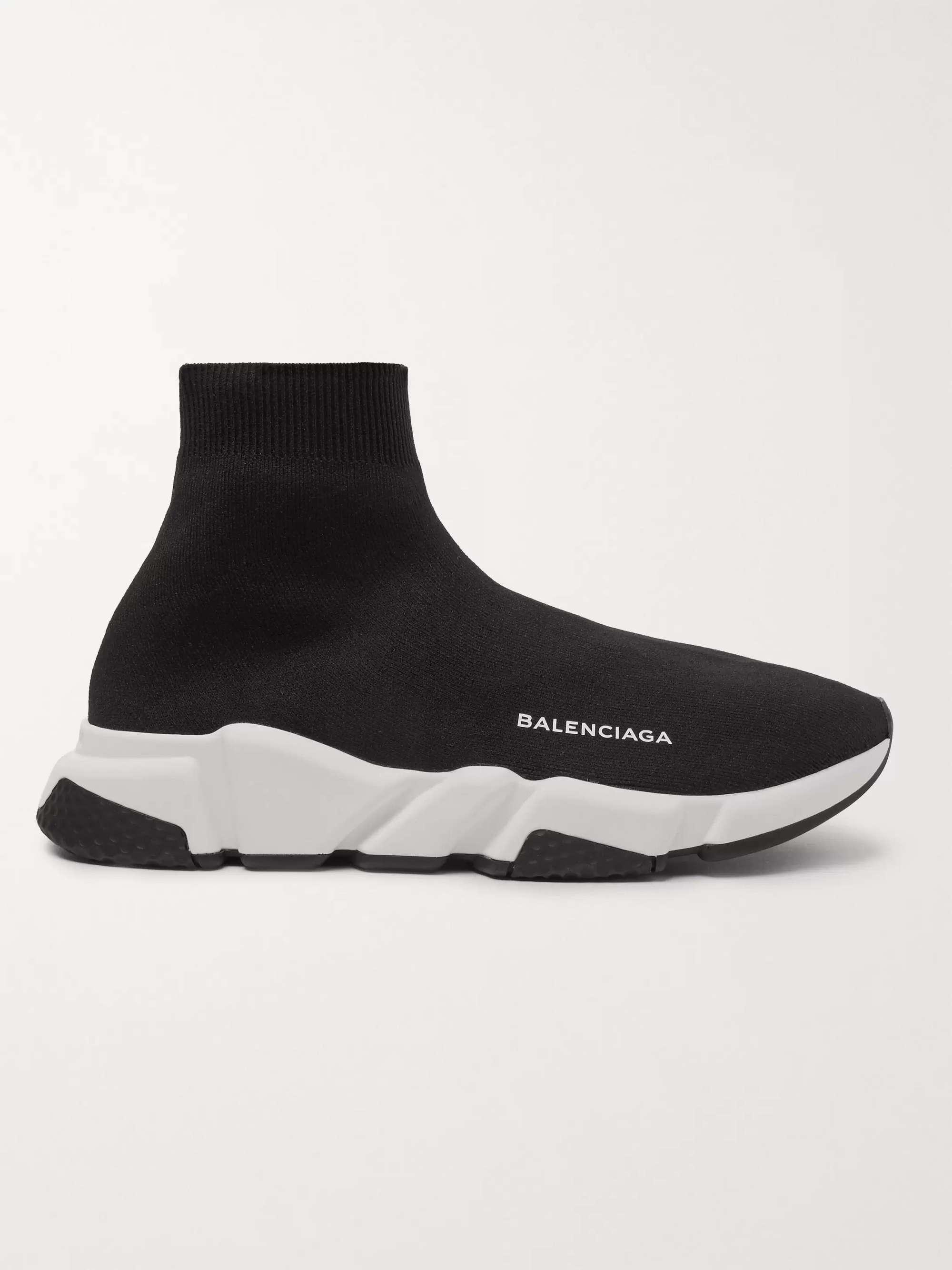 발렌시아가 스피드러너 남성용 - 블랙 Balenciaga Speed Sock Stretch-Knit Slip-On Sneakers,Black
