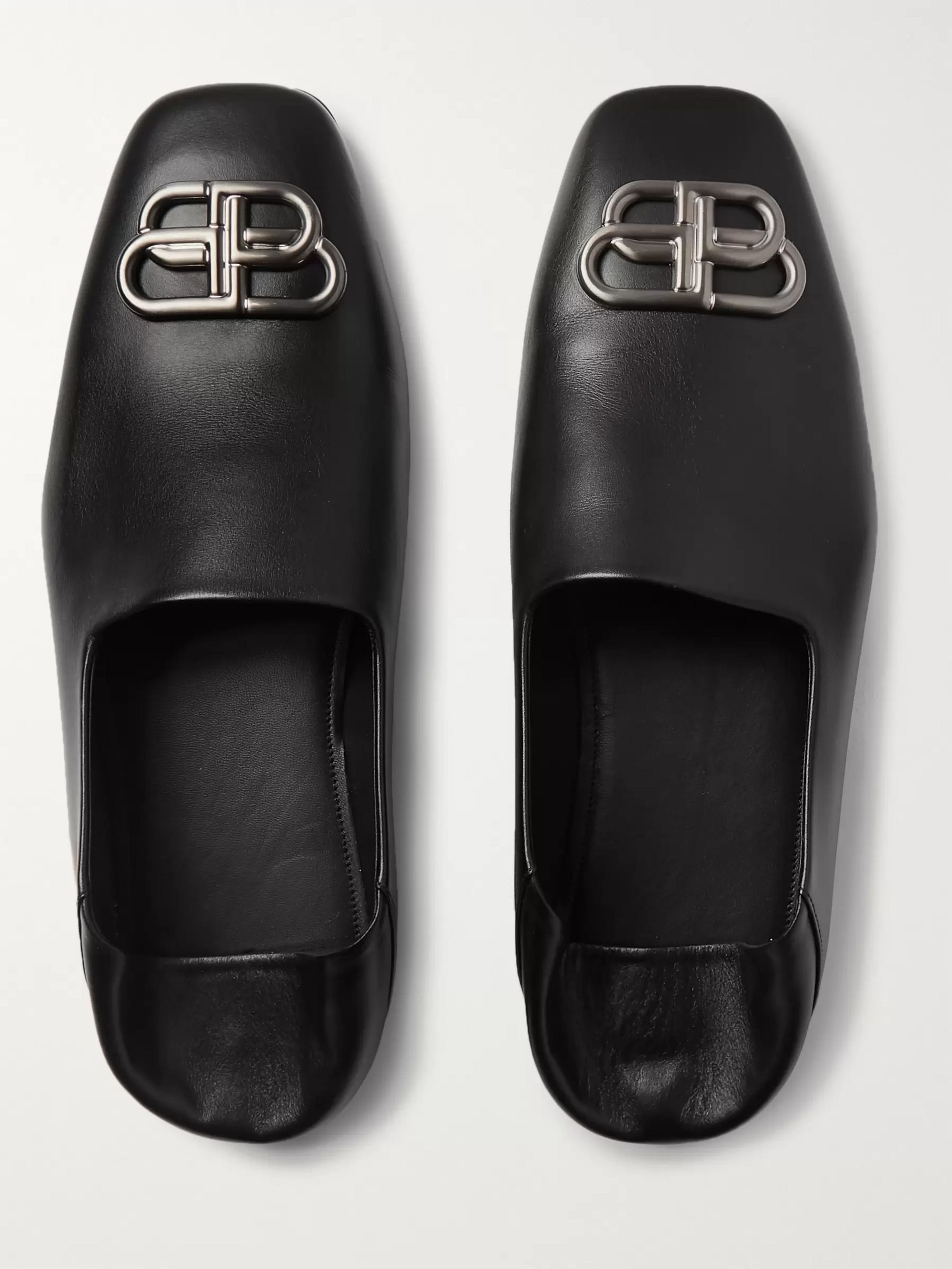 Balenciaga Cosy BB Logo-Embellished Collapsible-Heel Leather Loafers