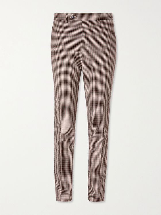MR P. Slim-Fit Checked Stretch Cotton and Wool-Blend Golf Trousers
