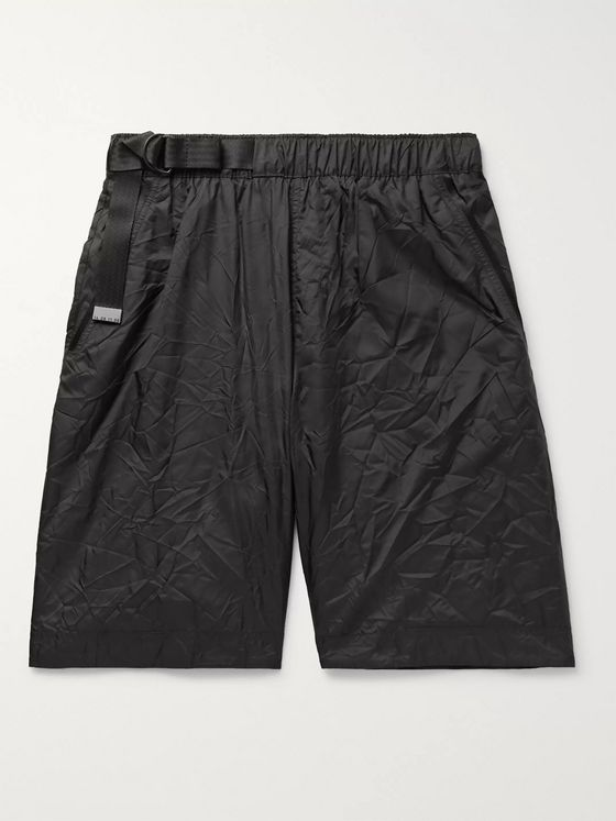 Nike Sportswear Tech Pack Webbing-Trimmed Belted Crinkled-Nylon Shorts