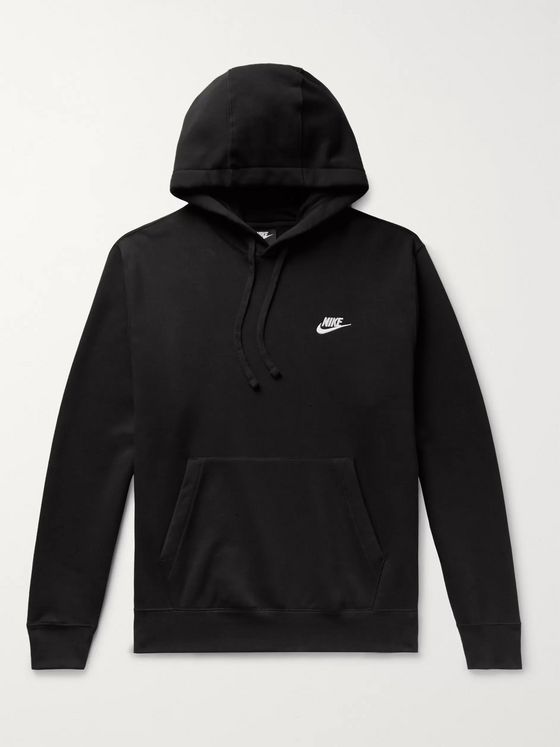 Nike Logo-Embroidered Fleece-Back Cotton-Blend Jersey Hoodie
