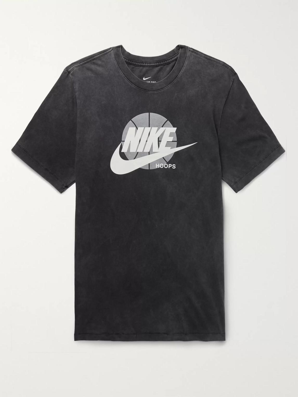 nike - futura logo-print cotton-jersey t-shirt - men - gray