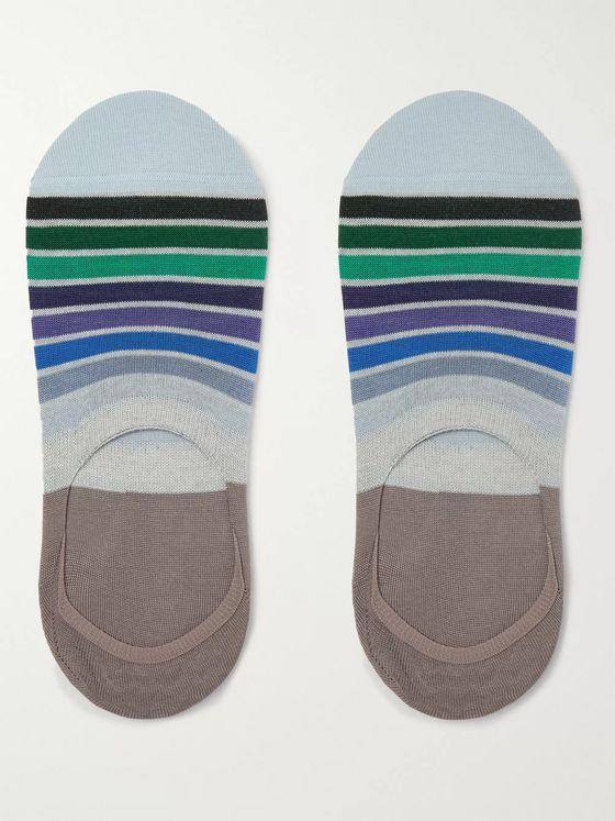 Paul Smith Striped Cotton-Blend No-Show Socks