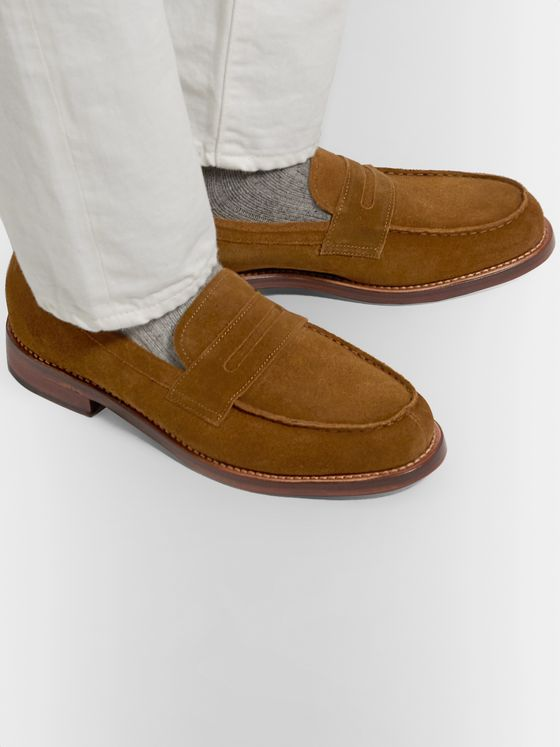 Grenson Peter Brushed-Suede Penny Loafers