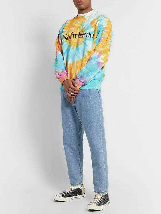 Aries Tie-Dyed Printed Fleece-Back Cotton-Jersey Sweatshirt