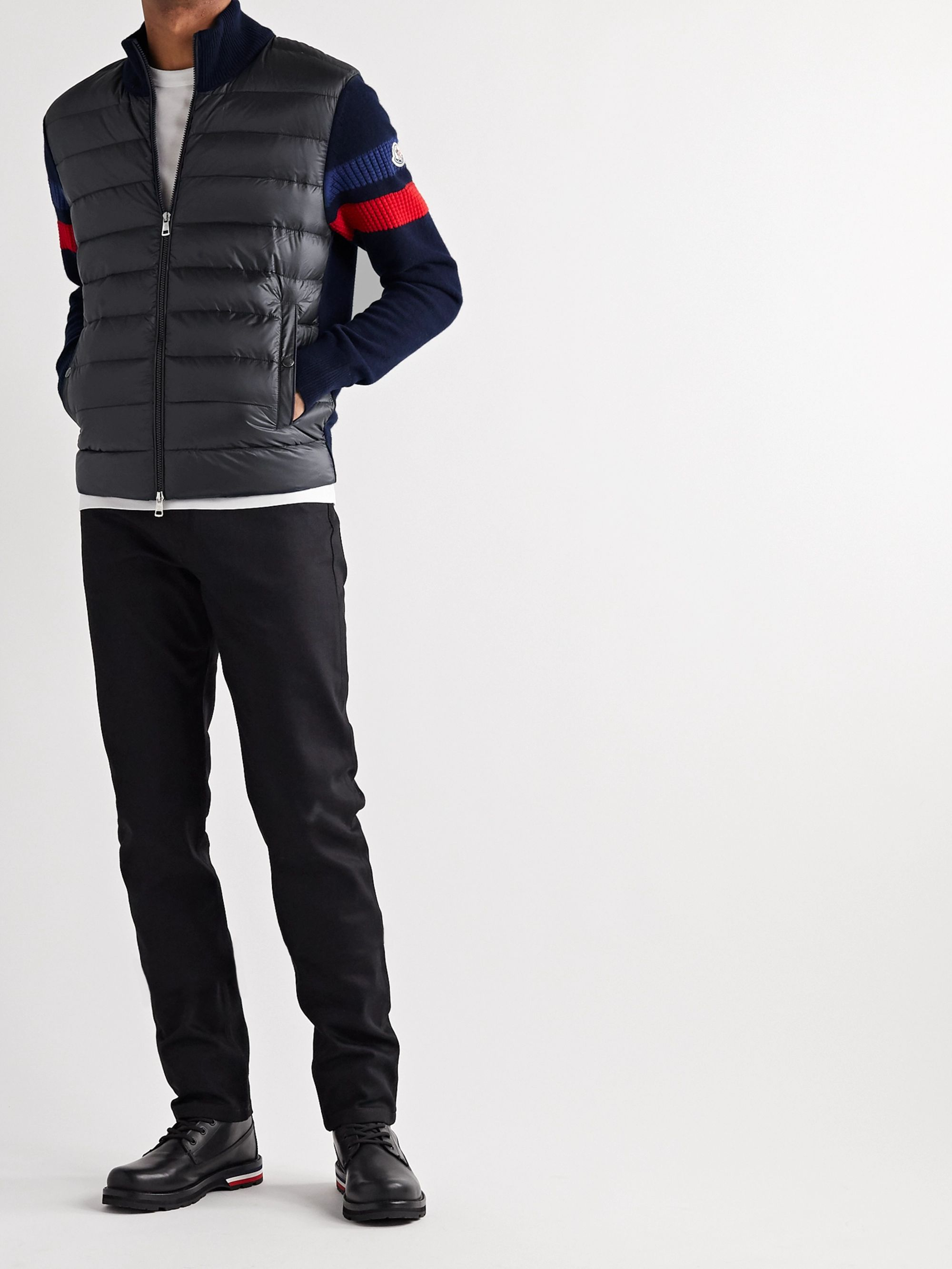 Moncler Slim-Fit Pannelled Quilted Shell Down and Striped Wool Jacket
