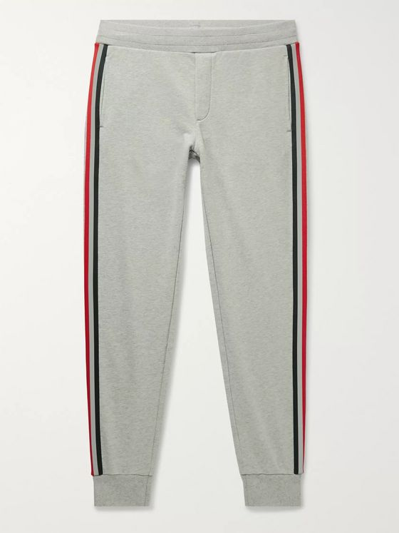 Moncler Slim-Fit Tapered Striped Webbing-Trimmed Logo-Appliquéd Cotton-Jersey Sweatpants