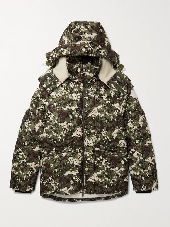 MONCLER Faux Shearling-Trimmed Quilted Camouflage-Print Shell Hooded Down Jacket