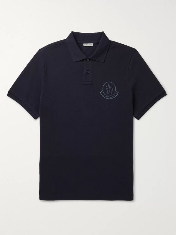 Moncler Logo-Print Cotton-Piqué Polo Shirt
