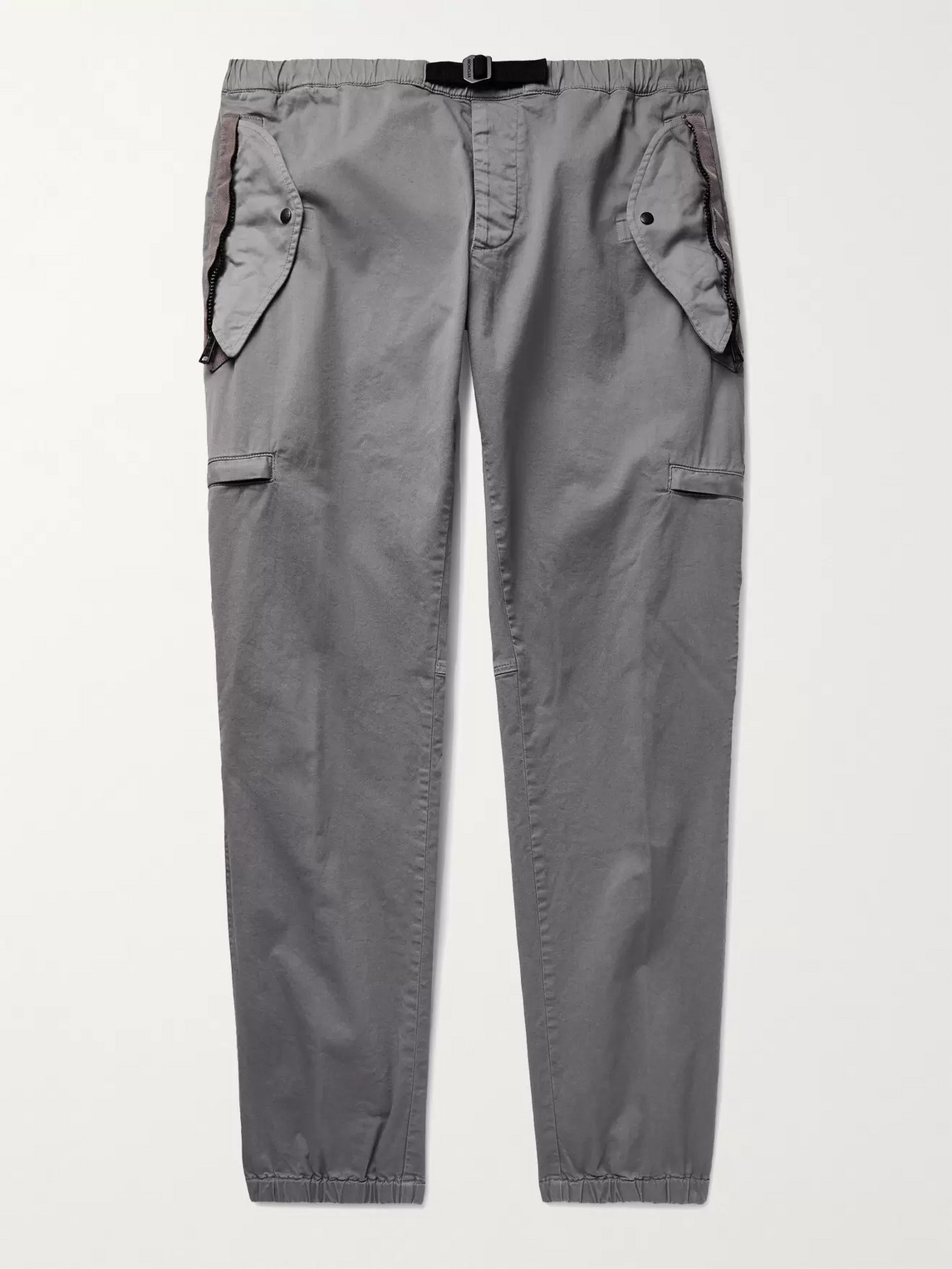 Moncler Tapered Belted Shell-trimmed Stretch-cotton Twill Cargo Trousers In Gray