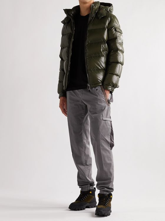 MONCLER Tapered Belted Shell-Trimmed Stretch-Cotton Twill Cargo Trousers