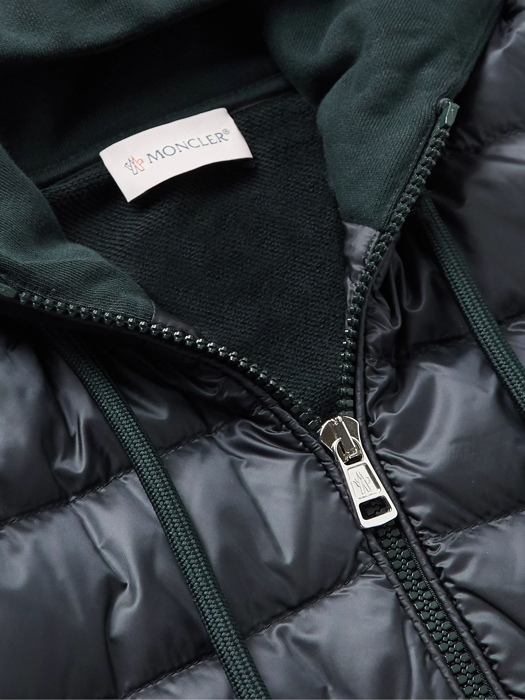 Navy Pannelled Quilted Shell Down And Cotton-jersey Hooded Jacket | Moncler