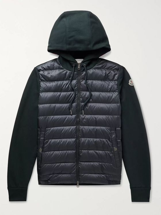 Moncler Pannelled Quilted Shell Down and Mélange Cotton-Jersey Hooded Jacket