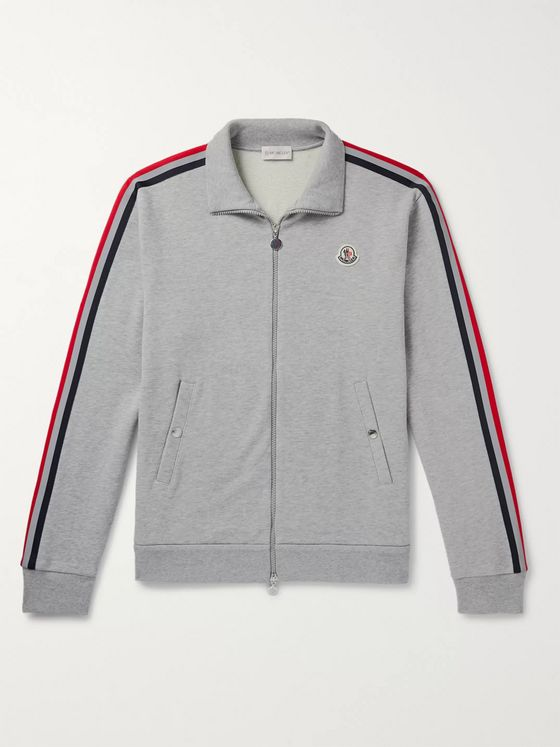 Moncler Striped Melangé Loopback Cotton-Jersey Zip-Up Sweatshirt
