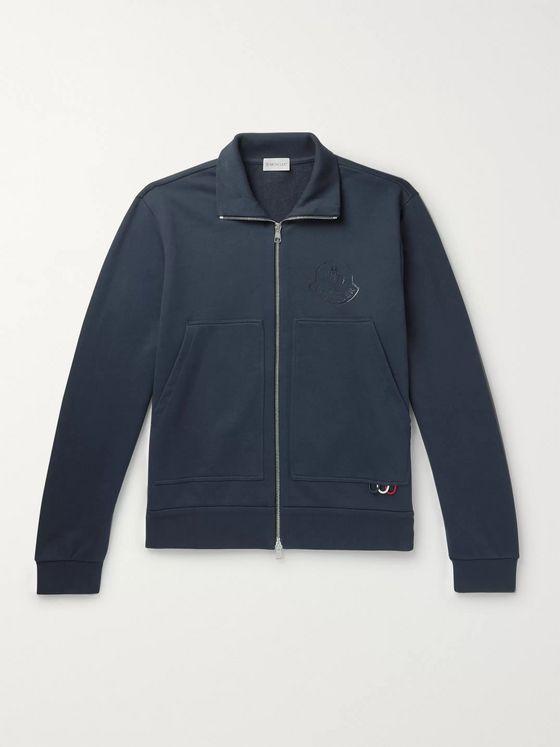 Moncler Logo-Print Loopback Cotton-Jersey Zip-Up Sweatshirt