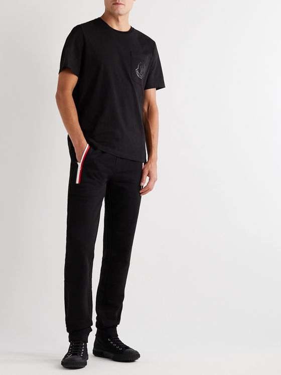 MONCLER Slim-Fit Tapered Striped Fleece-Back Cotton-Jersey Sweatpants