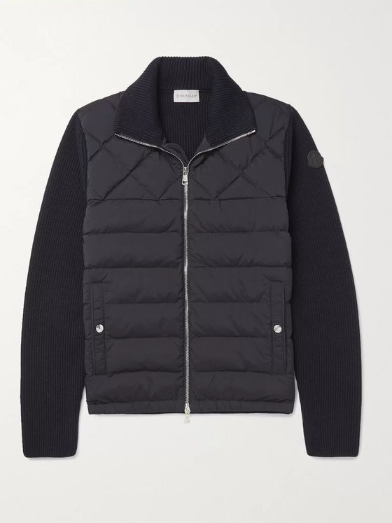 Moncler Panelled Wool-Blend and Quilted Shell Down Bomber Jacket