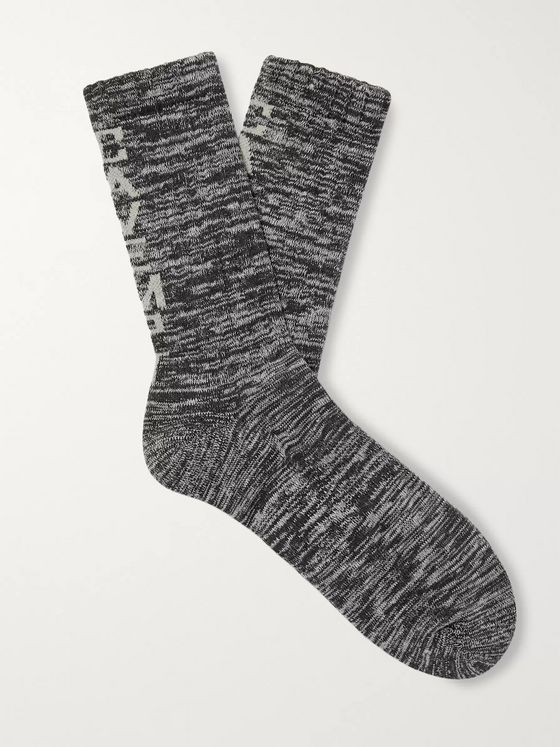 Cav Empt Logo-Intarsia Mélange Cotton-Blend Socks