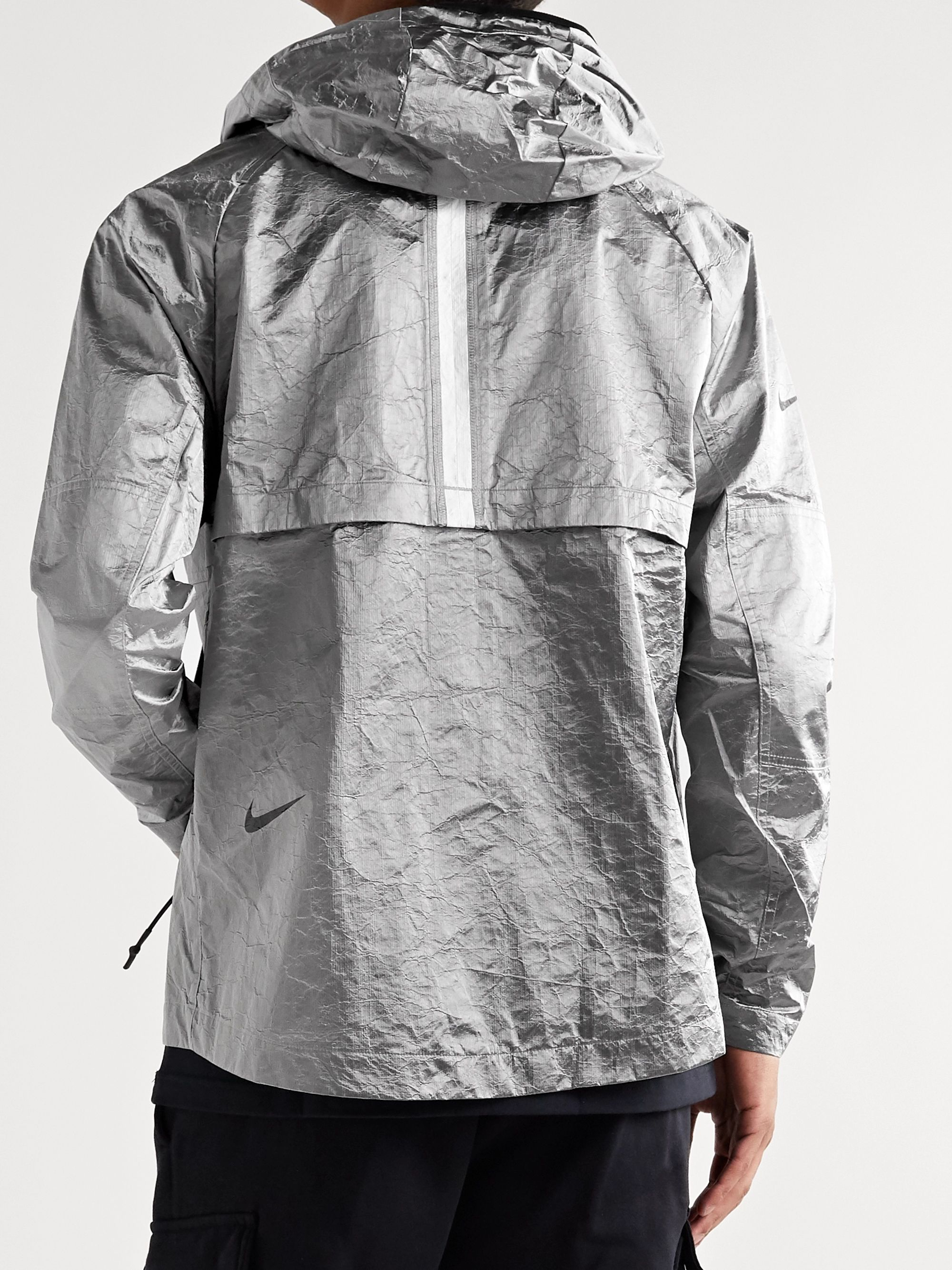 Nike Sportswear Tech Pack Grosgrain-Trimmed Logo-Print Metallic Crinkled-Nylon Hooded Jacket