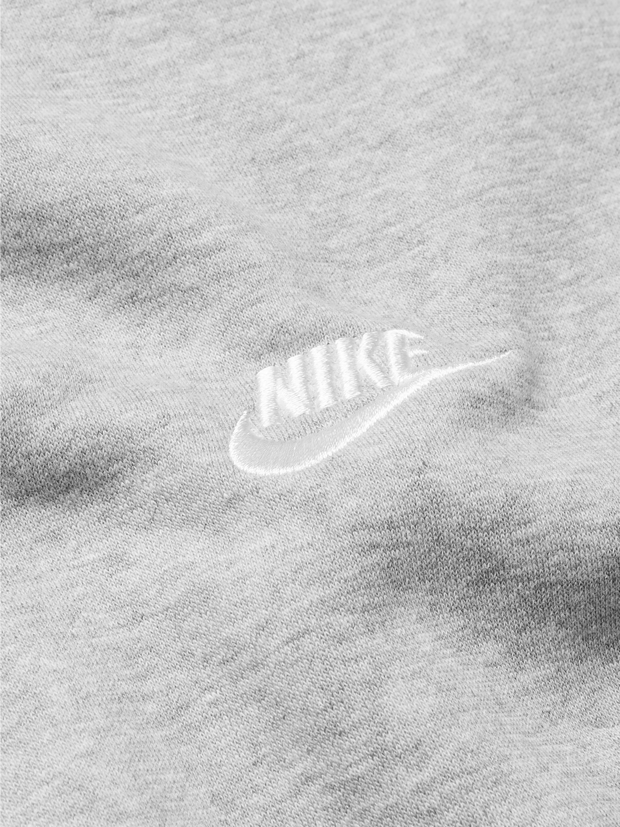 NIKE Logo-Embroidered Mélange Fleece-Back Cotton-Blend Jersey Sweatshirt