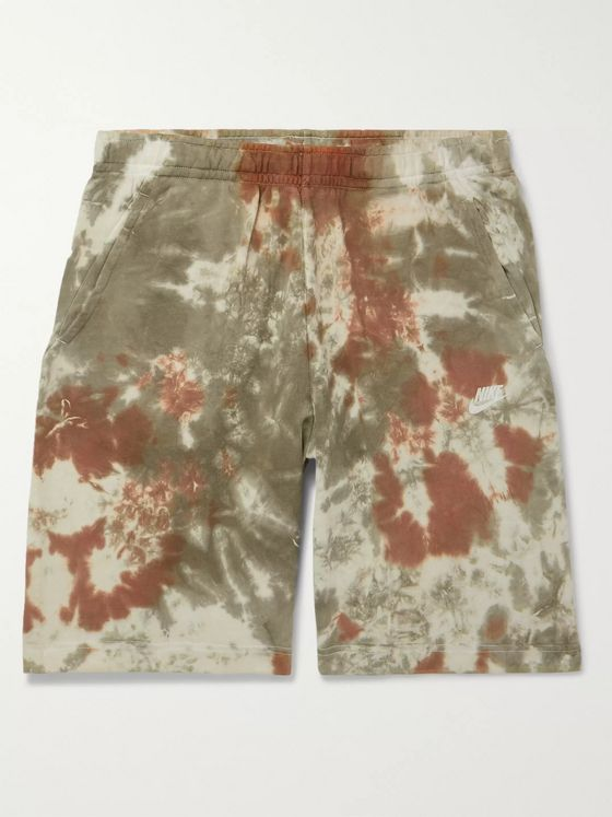 Nike Wide-Leg Tie-Dyed Loopback Cotton-Blend Terry Drawstring Shorts