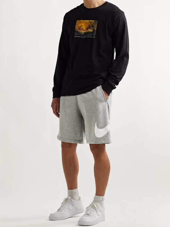 NIKE Sportswear Club Wide-Leg Logo-Print Fleece-Back Cotton-Blend Jersey Shorts