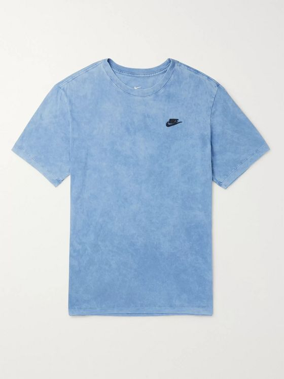 NIKE NSW Logo-Embroidered Acid-Washed Cotton-Jersey T-Shirt