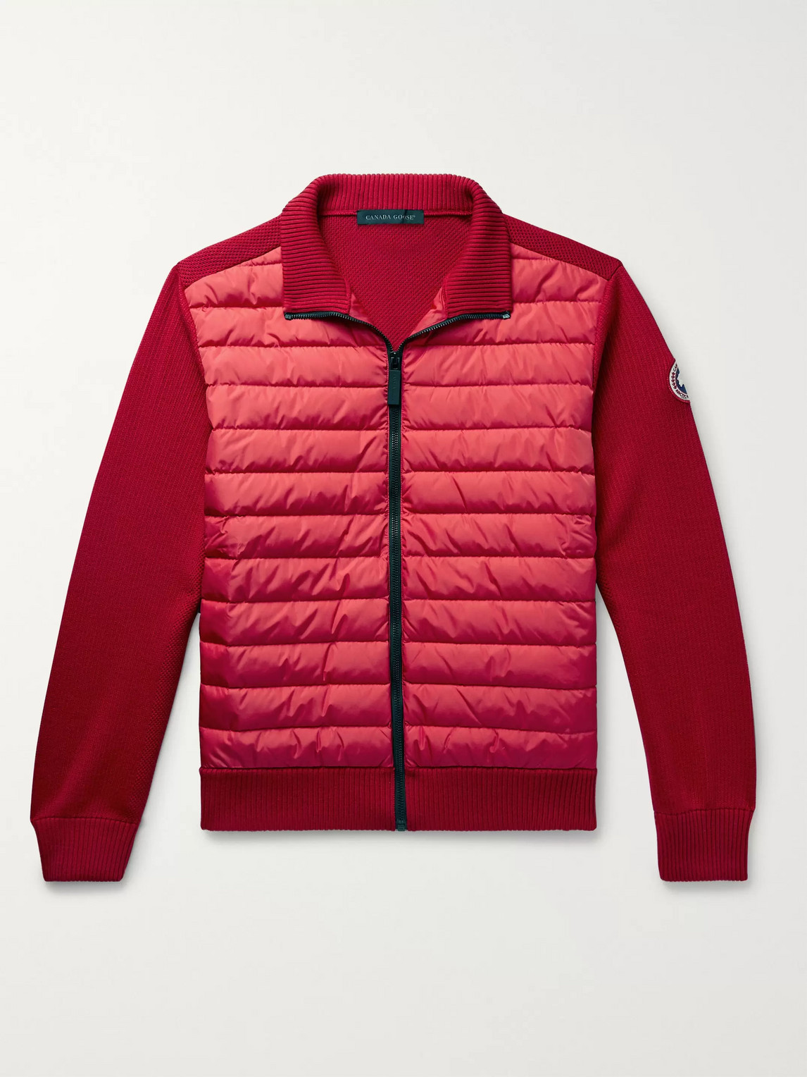 canada goose - hybridge quilted down shell and merino wool jacket - men - red